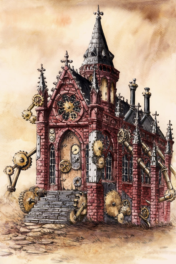 05-Steampunk-Chapel-Elwira-Pawlikowska-Gothic-and-Steampunk-style-Architecture-with-Ink-and-Watercolor-Illustrations-www-designstack-co