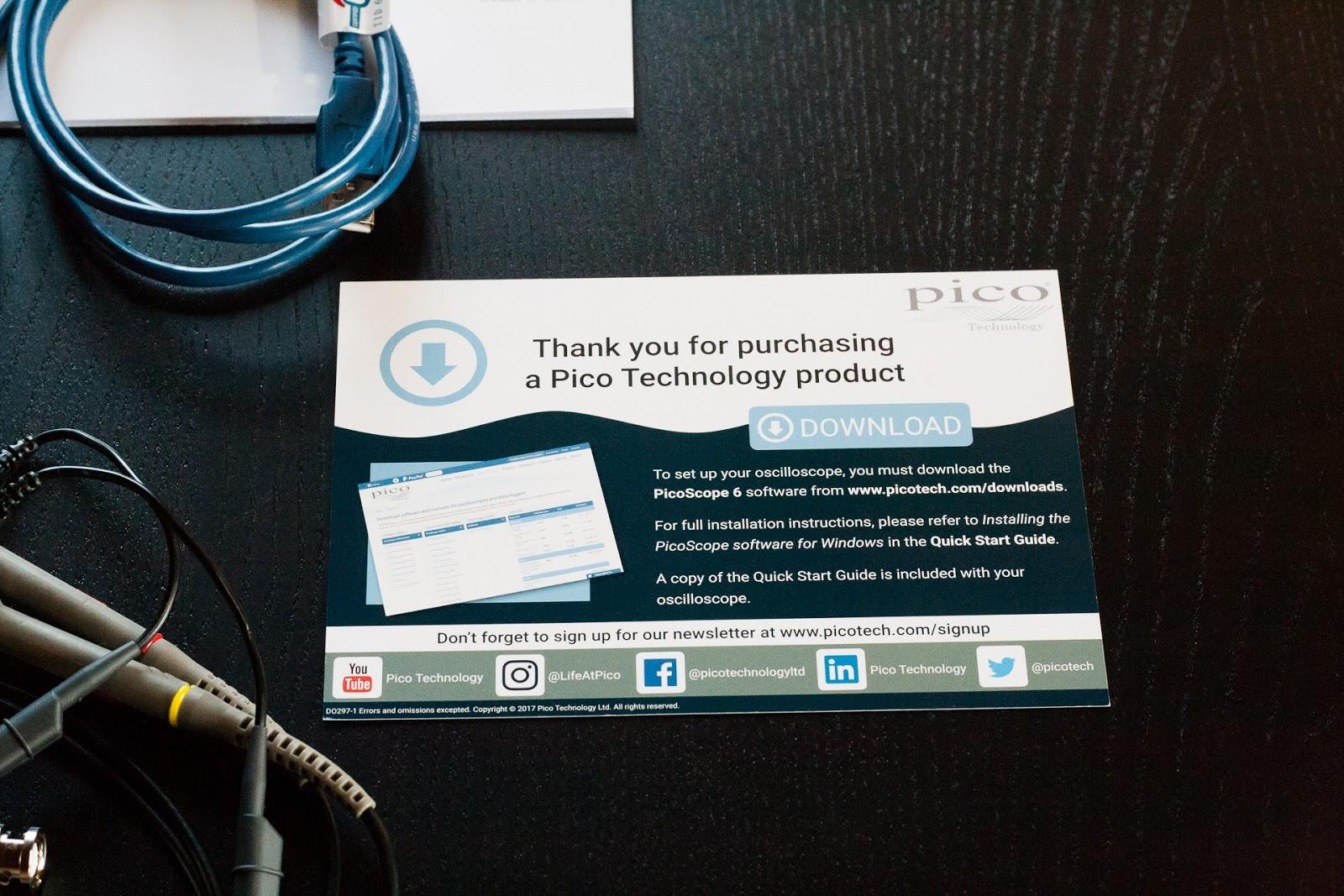Remerciements de Pico Technologies et informations de contact par Internet