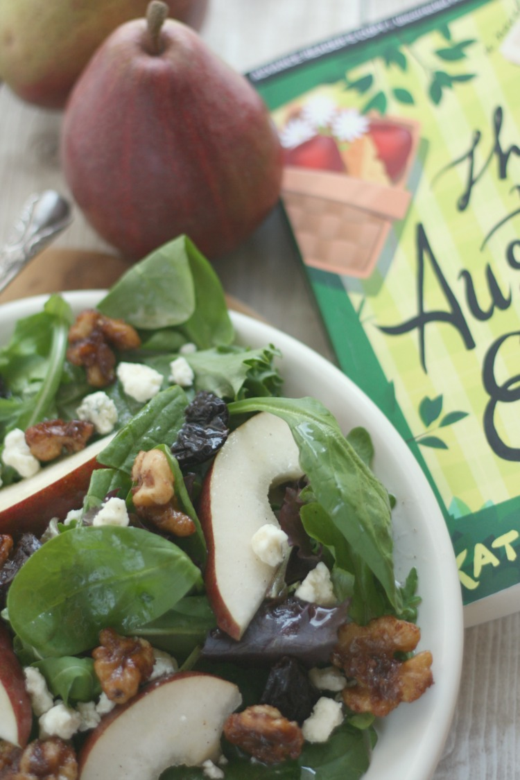 Pear & Baby Greens Salad w/ Spiced Maple Walnuts | The Austen Escape | #JaneAustenBites