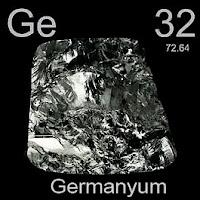 Germanyum elementi üzerinde germanyumun simgesi, atom numarası ve atom ağırlığı.