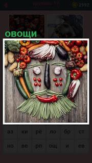 на столе из овощей выложена голова и лицо