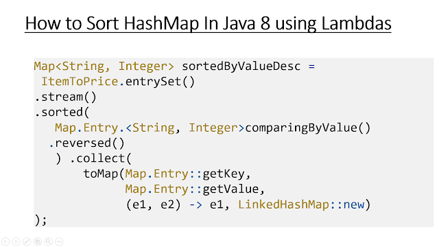 How to Sort Map by values in Java 8 using Lambdas and Stream