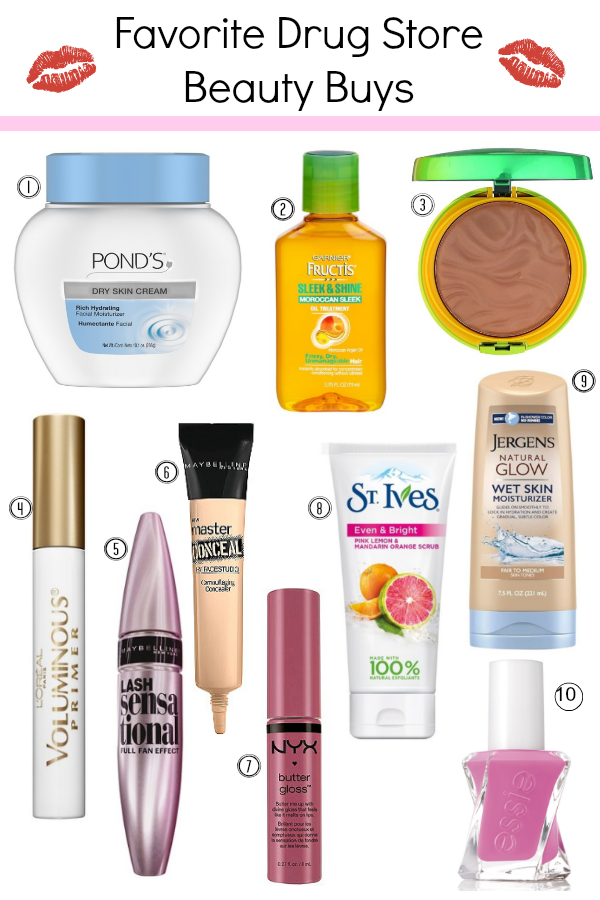 drug store beauty, ponds hydrating cream, garnier fructis serum, physicians formal bronzer, essie polish, maybelline mascara,  nyx butter gloss, lash primer, drugstore beauty, budget makeup
