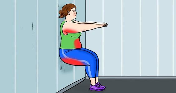 Duvara Yaslan ve Otur ( Kalça, Üst Bacak ve Kol ) Kasları Çalışsın