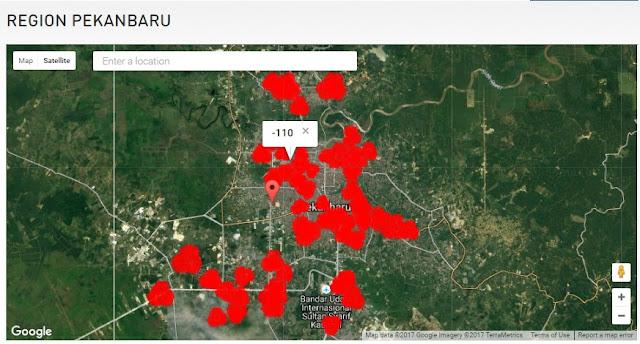 Peta Cakupan Jaringan 4G LTE Hinet Pekanbaru dan Sekitarnya