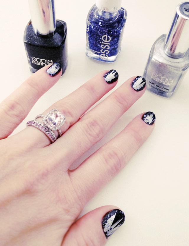 NYE Nails, black silver blue glitter manicure