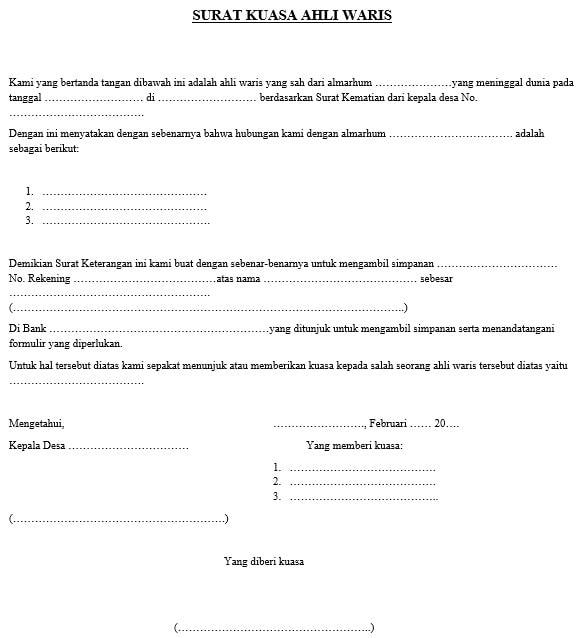 contoh surat kuasa mewakili ahli waris