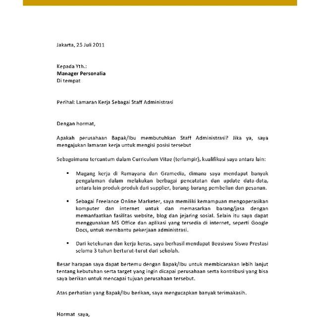 Contoh Surat Lamaran Kerja Bahasa Inggris Best Application Letter