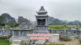 Làm lăng mộ đá hai mái đẹp tại Bắc Giang