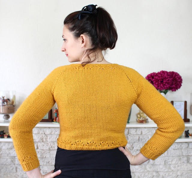 The Butterfly Balcony - Mustard Miette Cardigan - Wendy Back View angled
