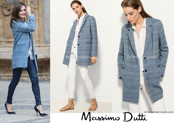 Queen Letizia wore Massimo Dutti Wool-Cashmere Printed Coat
