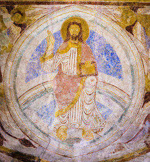 apse, architecture, christ, christianity, church, domini, editorial, evangelists, fresco, lackalanga, majestas, mandorla, mural, pantokrator, rainbow, sweden, wall-painting,
