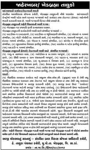 ICDS Khedbrahma Recruitment 2016 for Anganwadi Worker and Helper Posts