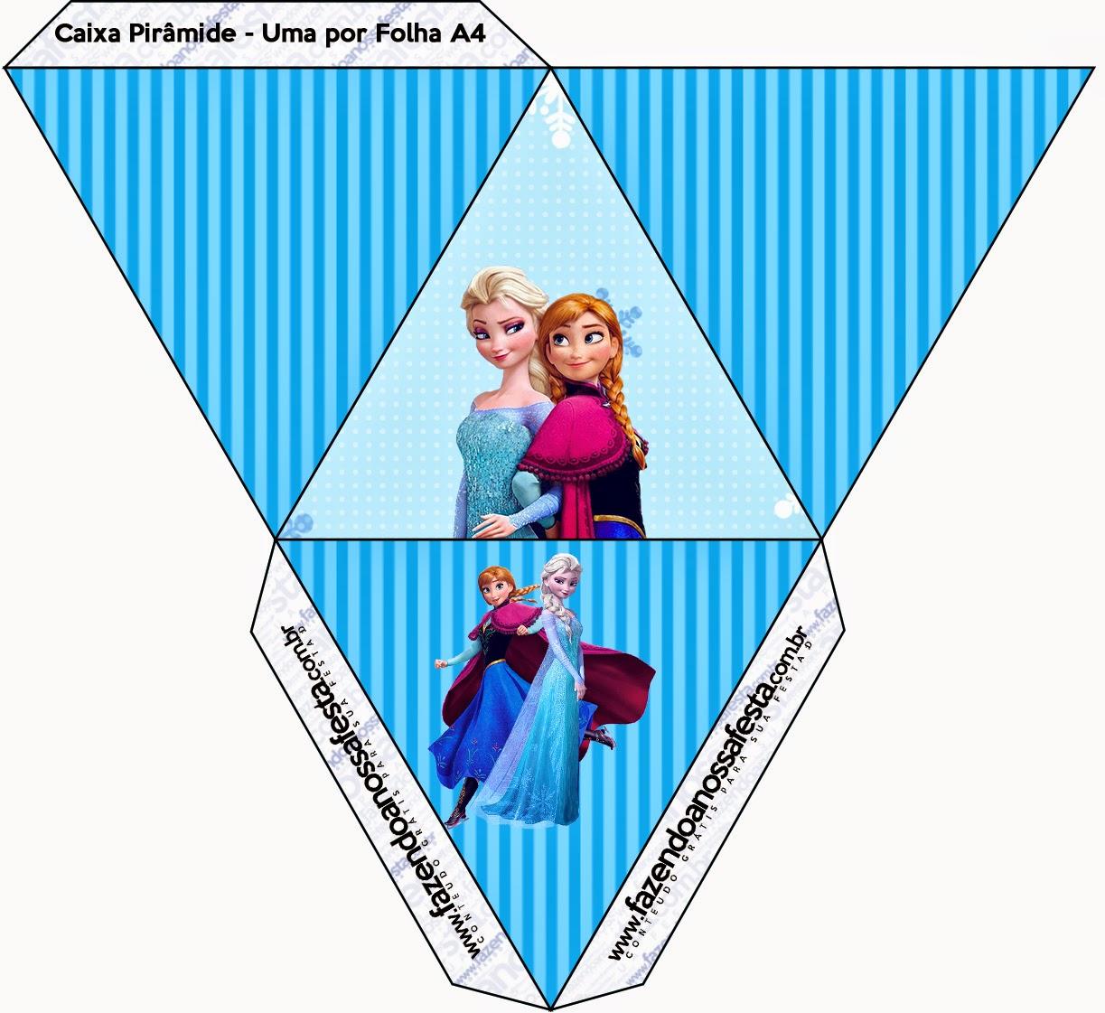 Caja con forma de pirámide de Frozen en Navidad Azul.