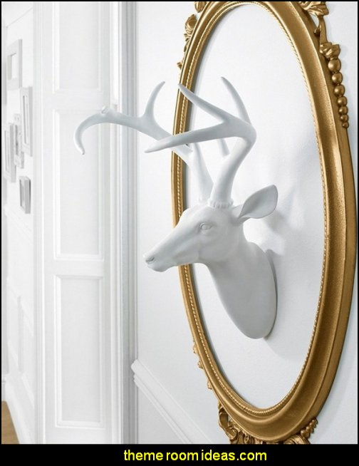 White Faux Stag Deer Head wall decorations - wall art prints - wall stencils - wall murals - wall decals - wall decor - Lighted Letters - wall letters - Storage wall shelves - Marquee Lights - wall lights - picture frames - mirrors - decorative accents  ceramic wall decor - cardboard wall mounts - Stuffed Animal Trophy Head wall decorations -