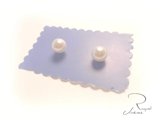 pendientes,botón,perla