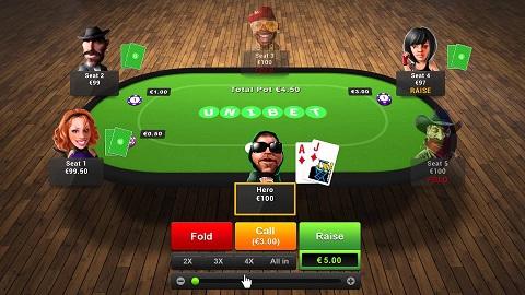 Một bàn chơi Poker trên Unibet