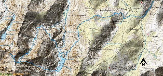 Ruta señalizada en el mapa de la subida a La Galana y el Risco del Gutre en la Sierra de Gredos.