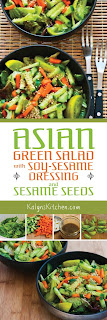 Asian Green Salad with Soy-Sesame Dressing and Sesame Seeds found on KalynsKitchen.com