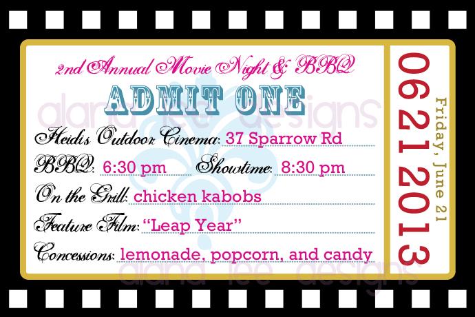 Movie Ticket Invite Template movie night birthday party raffle – Ticket Invite Template