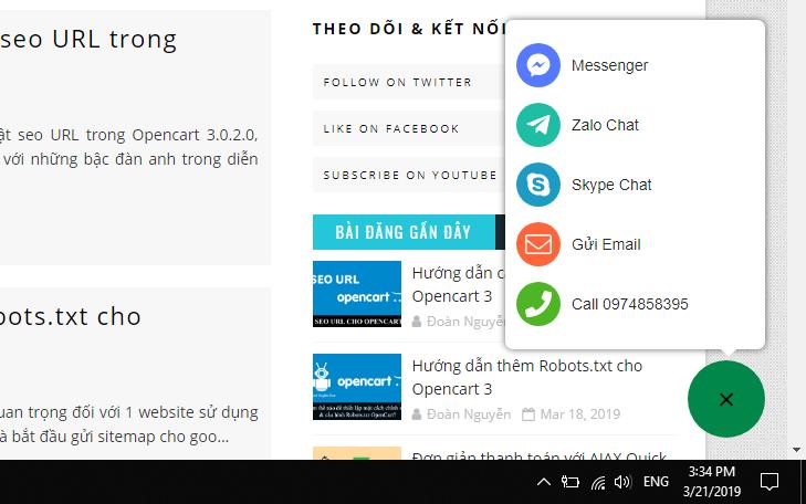 Thêm nút gọi đa năng ở góc màn hình cho Blogspot