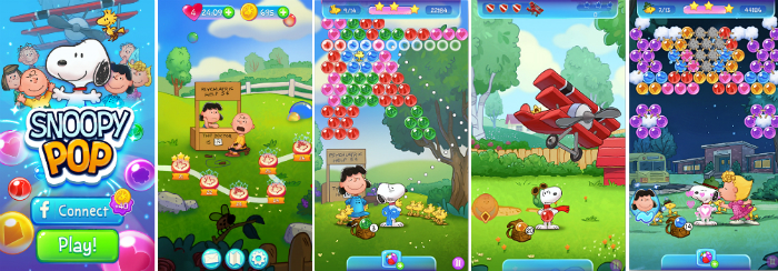 "Screenshots of ""Snoopy Pop"" game."