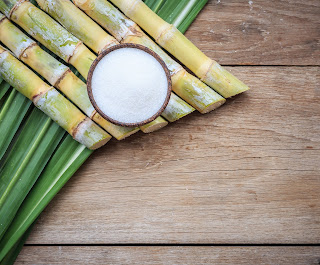 sugar cane and refined white sugar