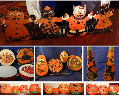 A collage of embossed diecuts, noisemakers, and pulp jack o'lanterns.