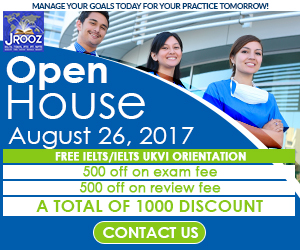 JROOZ FREE IELTS/IELTS UKVI Open House Promo  Join us on August 26, 2017  Know the basics of IELTS and IELTS UKVI  GET 1000 OFF  Manage Your Goals Today For Your Practice Tomorrow!