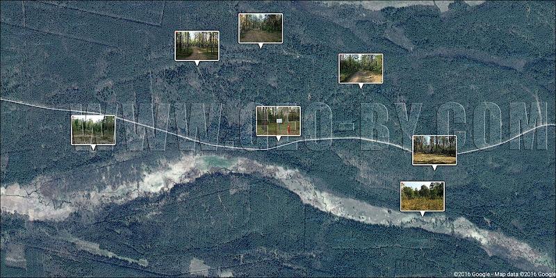 Спутниковая карта Налибокской пущи между реками Сивичанка и Каменка
