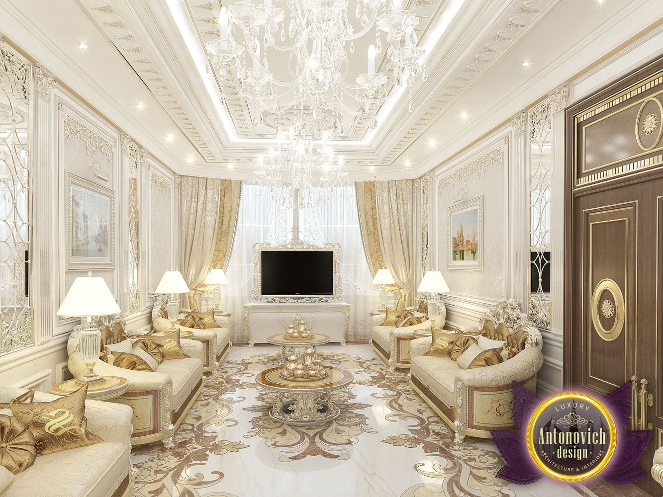 Luxury antonovich design uae living room interior design for Sitting room designs pictures