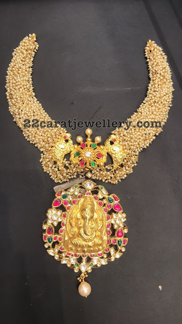 Small Pearls Choker with Ganesh Pendant