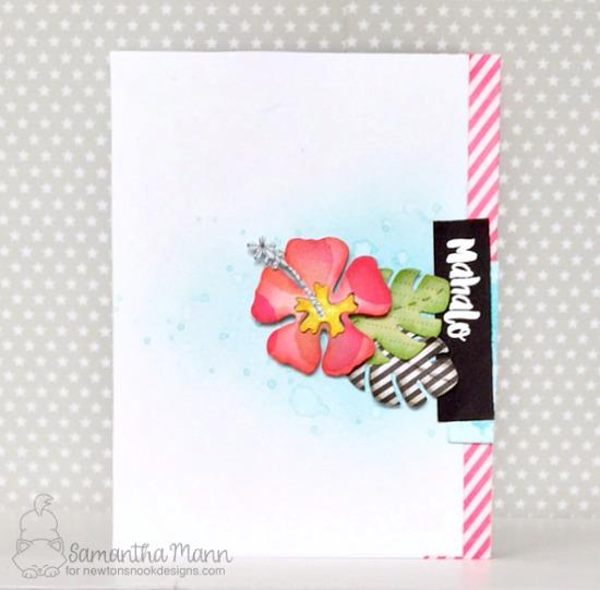 Hibiscus Mahalo card by Samantha Mann | Hibiscus Die set by Newton's Nook Designs #newtonsnook