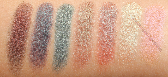 Makeup Geek Duochrome Eyeshadows Swatches: Steampunk, Secret Garden, Typhoon, Ritzy, Havoc, Karma, and Mai Tai.
