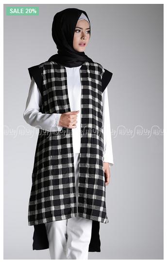 Foto Padu Padan Busana Muslim Modern Dengan Long Vest Trend Hijab