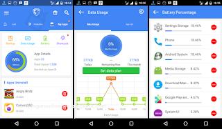 menu tambahan backup aplikasi, data usage, informasi batre