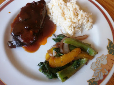 Country ribs with rice and veggies