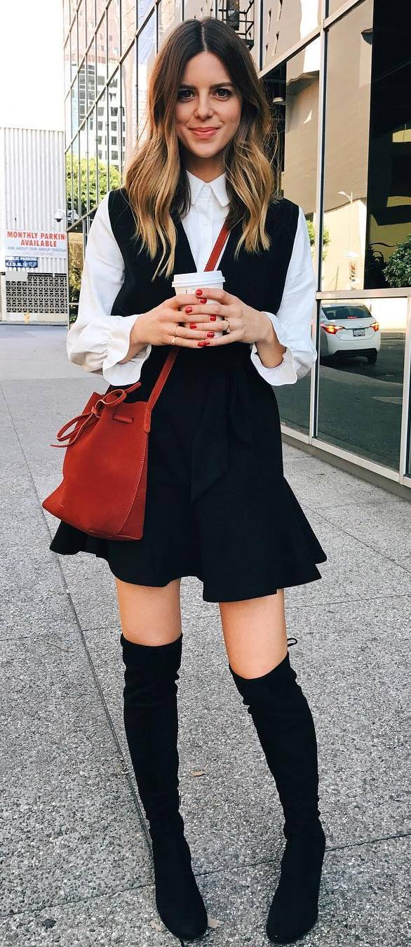 cool office style outfit: white blouse + bag + dress + over the knee boots