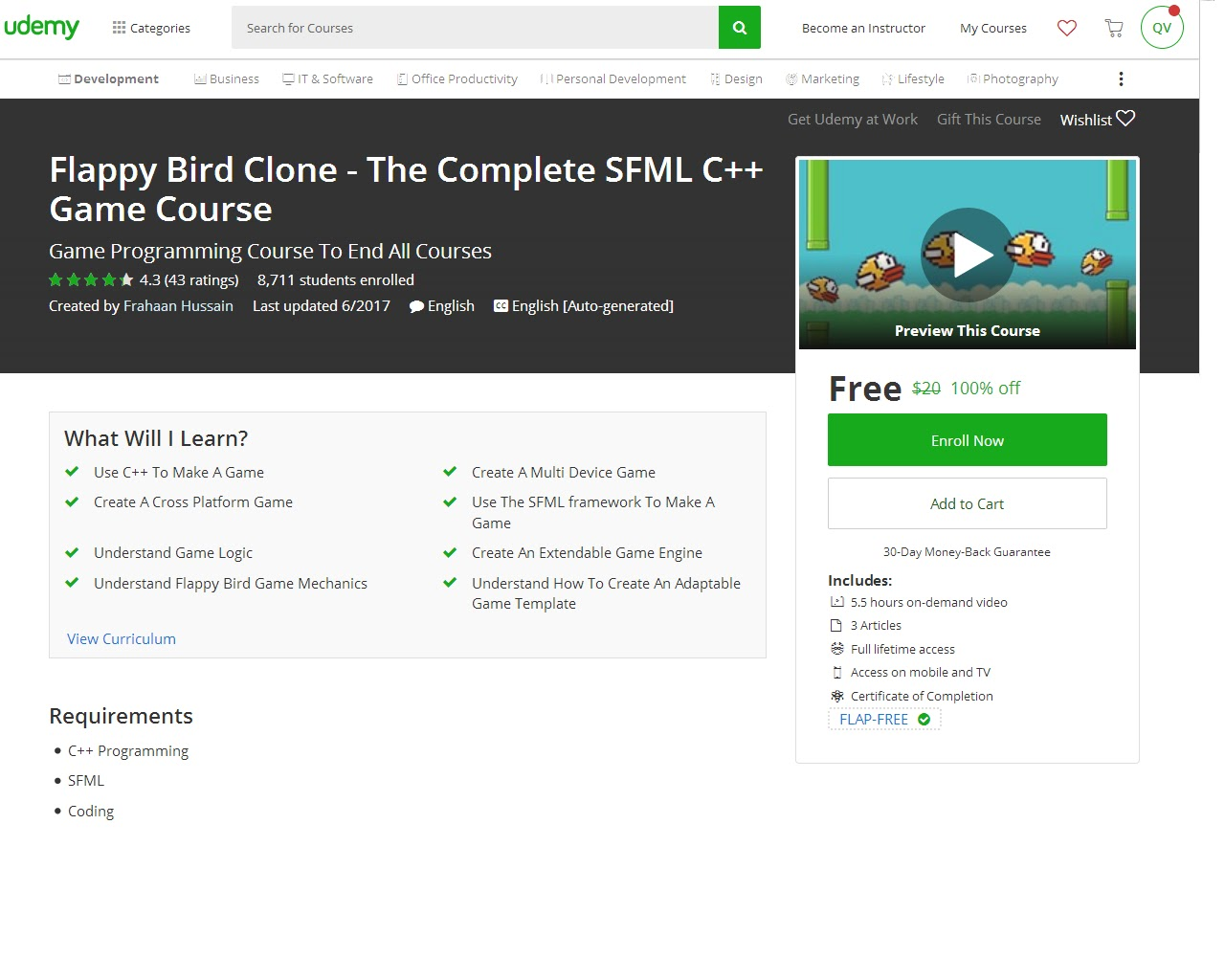 Flappy Bird Clone - The Complete SFML C++ Game Course-UDEMY