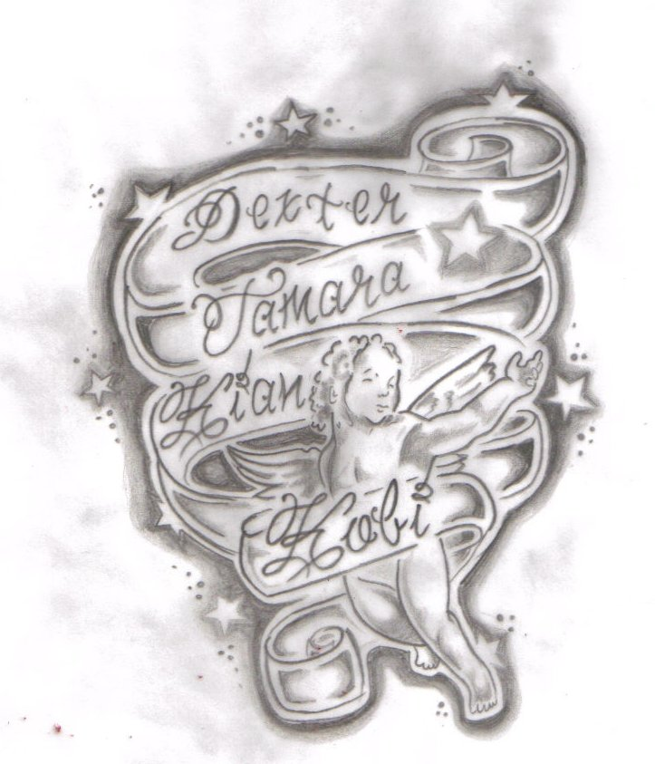 childrens names tattoo design by tattooed honey