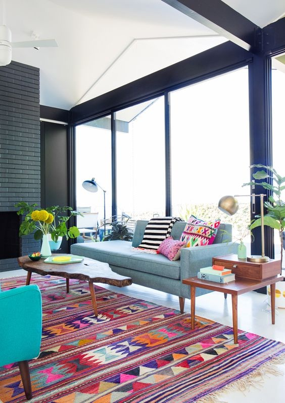 Simple Living Room with Playful Color