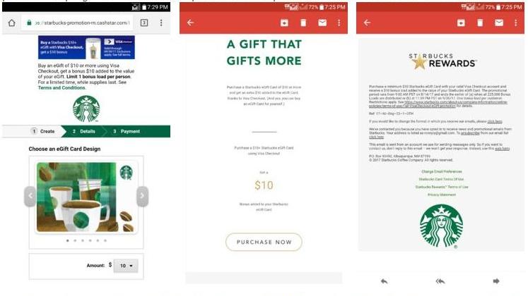 deal link httpsstarbucks promotioncashstarcomgift cardbuydesktoptrue expiry 93017 - How To Use Visa E Gift Card
