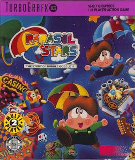 Carátula del cartucho de Parasol Stars para PC Engine o Turbografx-16 (nombre de la consola en América)