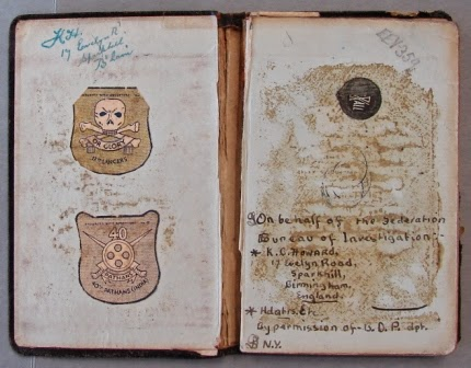 Inside cover of black notebook - National Archives  (KV 2/27) (Photo copyright G.K. Jakobs)