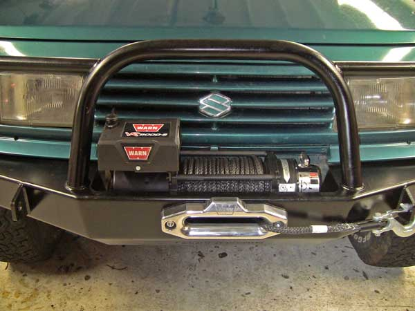 WARN VR8000-s winch on the front of The Teal Terror, my 1995 Suzuki Sidekick 4x4 project - Subcompact Culture