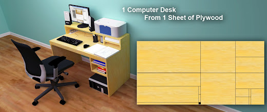 This Attractive And Functional Computer Desk Is Built Using Only One Sheet  Of Plywood And 14 Cuts Which Makes It An Easy And Affordable Desk That Can  Be ...