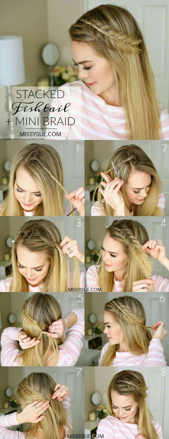 Stacked Fishtail Mini Braid Easy Women's Hairstyles