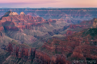 Cramer Imaging's professional quality landscape photograph of the North Rim of the Grand Canyon Arizona at sunset