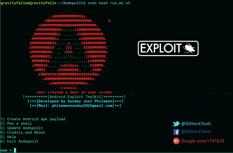 Andspoilt - Android Exploit Toolkit with Metasploit Framework
