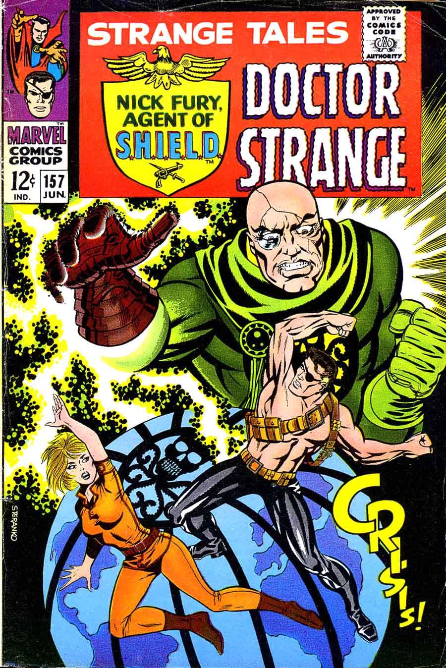 Strange Tales v1 #157 nick fury shield comic book cover art by Jim Steranko